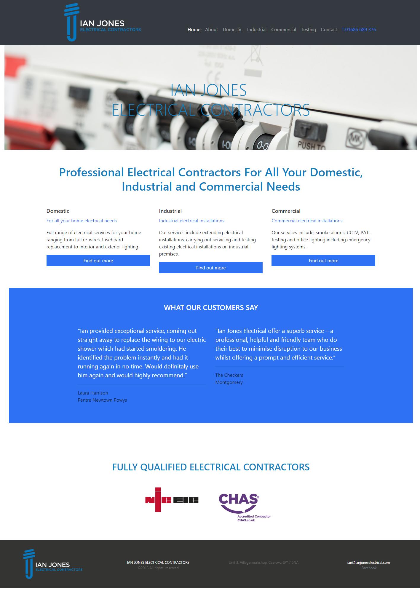 Ian Jones Electrical Contractor website Design & Development